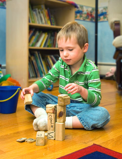 Collin enjoying the blocks Ryan gave him.