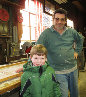 Ryan visiting Robert Gaube woodworking shop